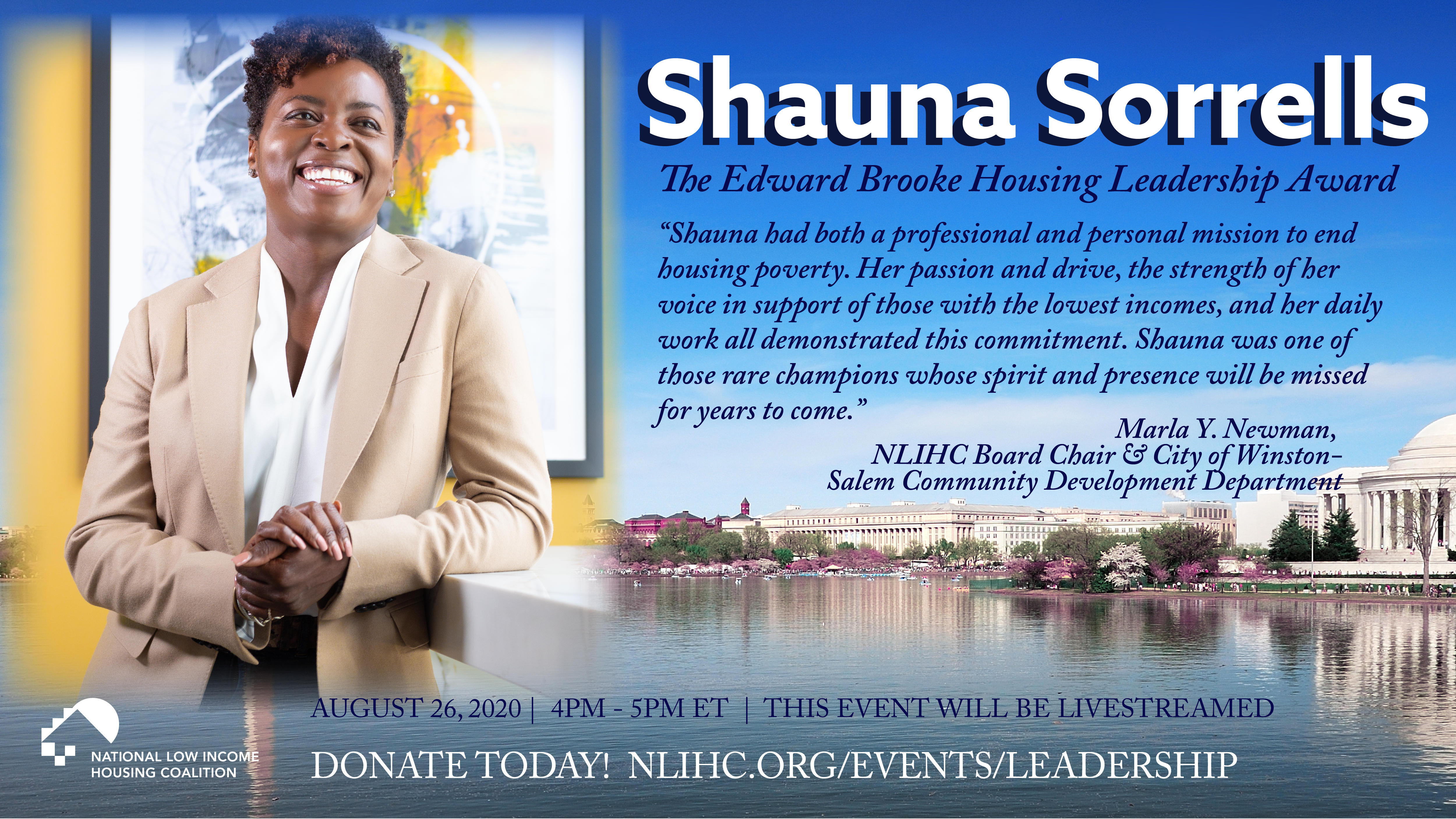 Image of Shauna Sorrells with Quote from colleague; background is a wide shot of the National Mall.