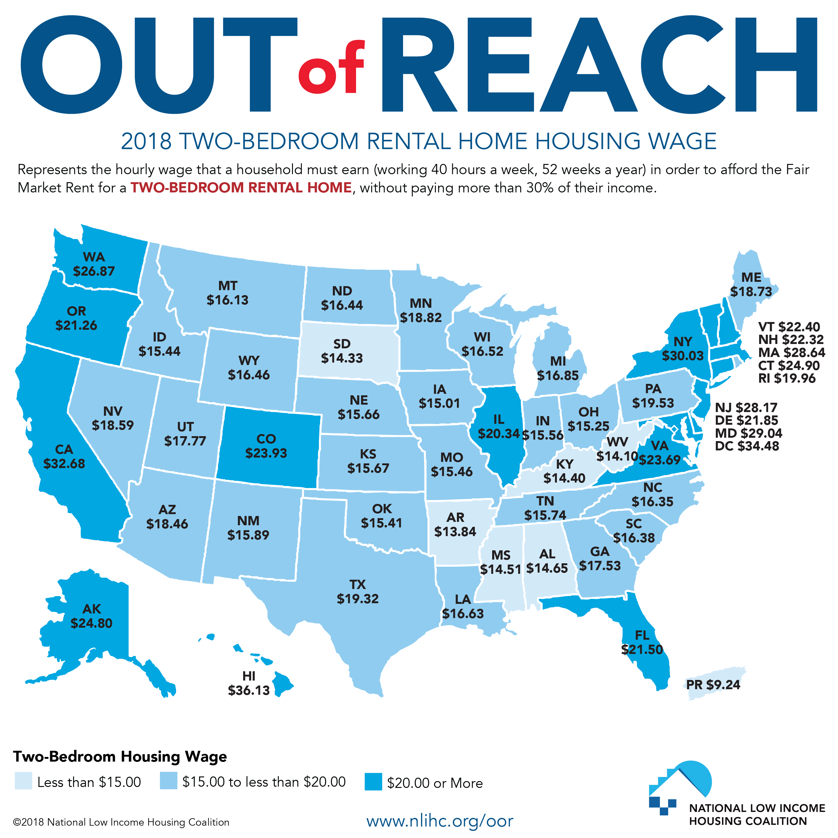 2018 Two-Bedroom Rental Unit Housing Wage