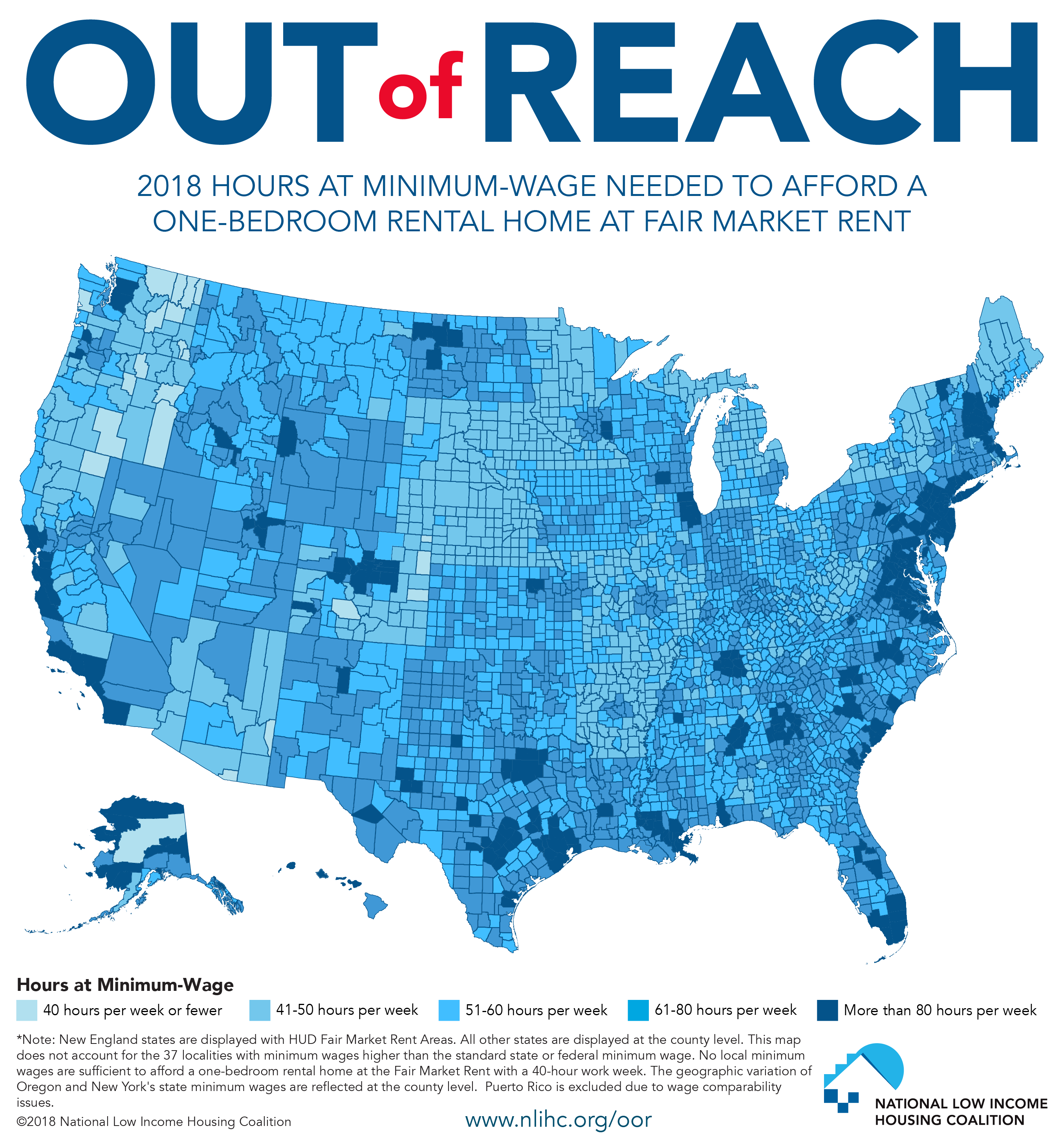 2018 Hours at Minimum Wage Needed to Afford Rent
