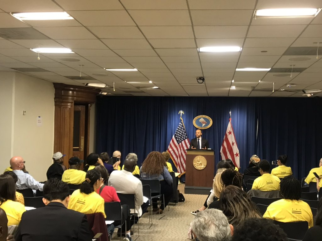 (DC Councilmember Robert White addressing CNHED advocates. Courtesy of CNHED.)
