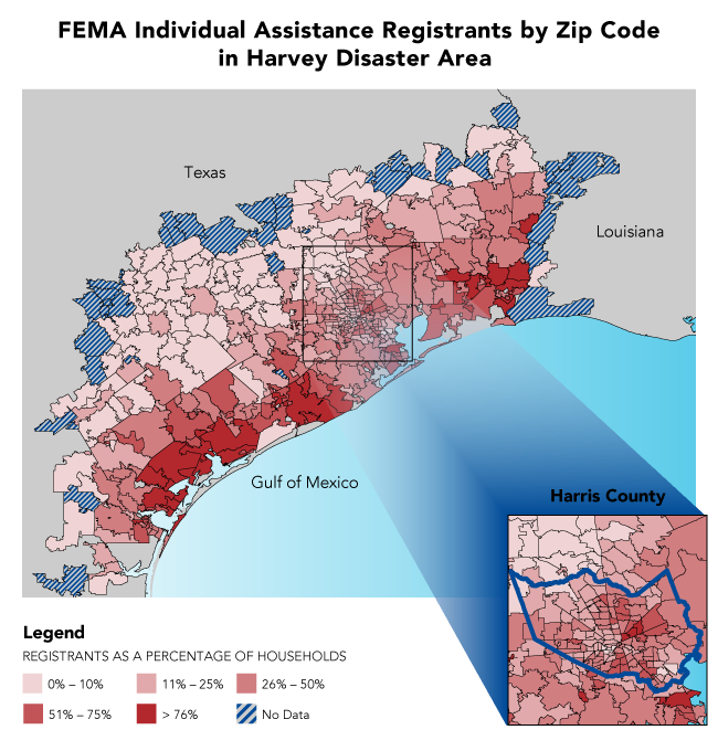 FEMA Individual Assistance Registrants by Zip Code in Harvey Disaster Area