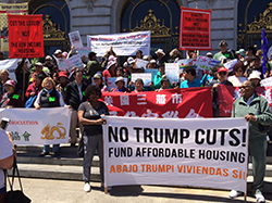 San Francisco advocates demonstrating in front of City Hall