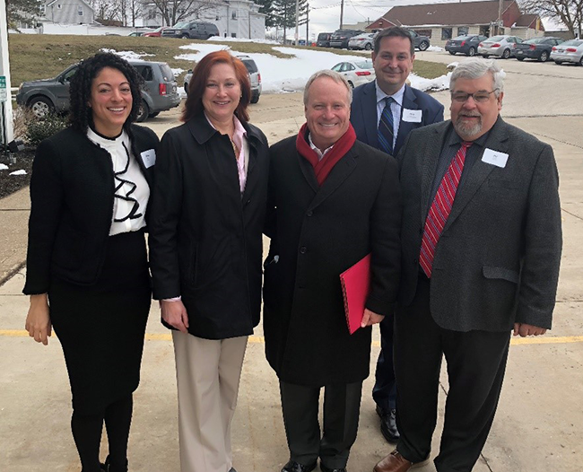 Left to right: Gina Wilt, advocacy director for COHHIO; Karen McLeod, executive director of Extended Housing; Representative David Joyce; Nate Coffman, executive director of the Ohio CDC Association; Bill Faith, executive director of COHHIO