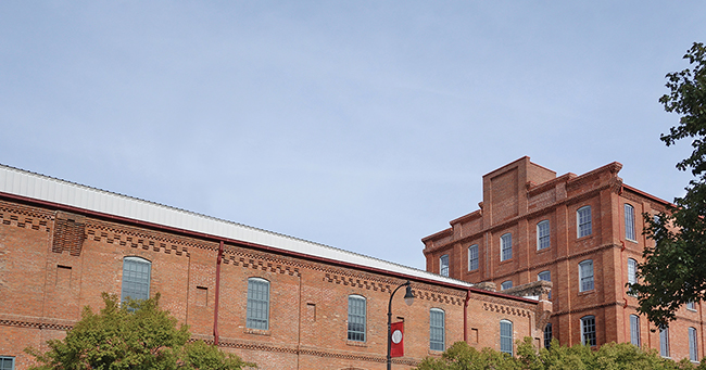 Renovated former tobacco warehouses near downtown Durham, North Carolina